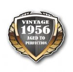 1956 Year Dated Vintage Shield Retro Vinyl Car Motorcycle Cafe Racer Helmet Car Sticker 100x90mm
